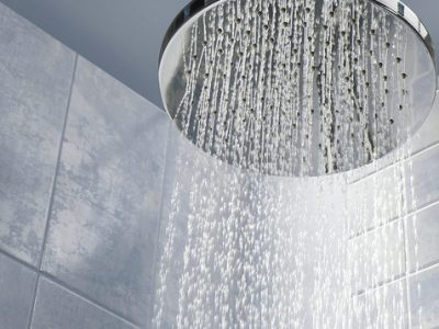 Shower head with running water paired with water softening filter